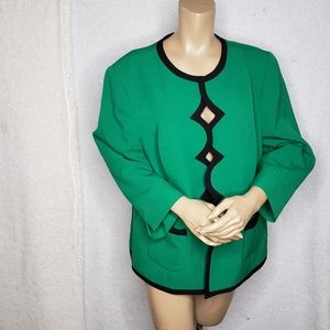 NWOT Kasper Jacket blazer green and black 18w